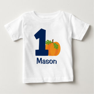 First Birthday Boy Fall Pumpkin Personalized Baby T-Shirt