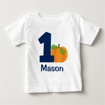 Halloween Themed First Birthday Boy Fall Pumpkin Personalized Baby T-Shirt