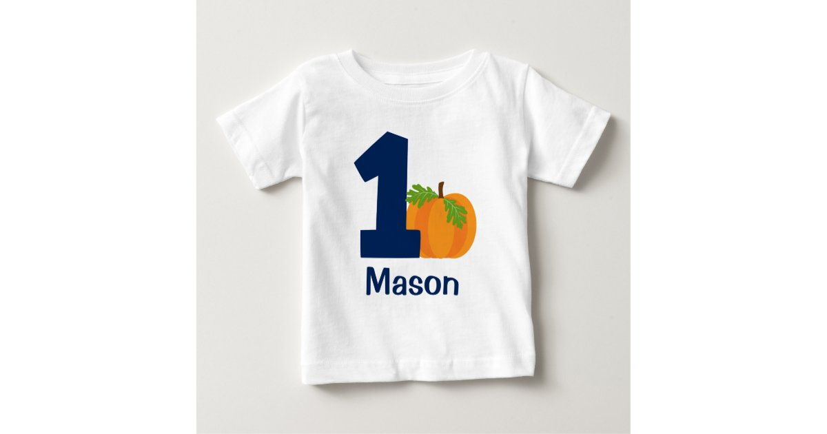 First Birthday Boy Fall Pumpkin Personalized Baby T Shirt