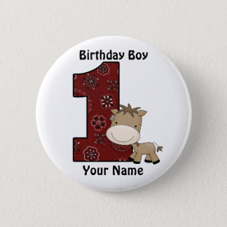 First Birthday Boy Horse Button