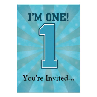 First Birthday Boy I m One Big Blue Number 1 Personalized Invites
