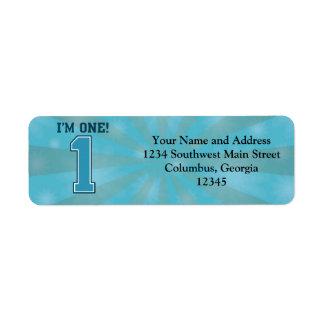 First Birthday Boy I m One Big Blue Number 1 Custom Return Address Label