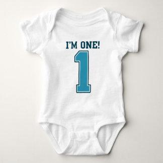 First Birthday Boy, I'm One, Big Blue Number 1 Baby Bodysuit