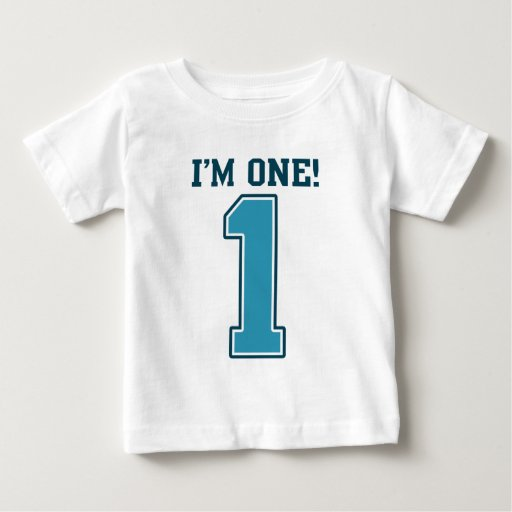 First Birthday Boy, I'm One, Big Blue Number 1 Baby T-Shirt