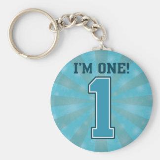 First Birthday Boy, I'm One, Big Blue Number 1 Basic Round Button Keychain