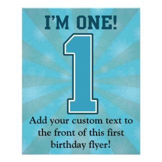 First Birthday Boy, I'm One, Big Blue Number 1 Flyer