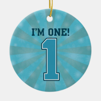 First Birthday Boy, I'm One, Big Blue Number 1 Christmas Tree Ornament