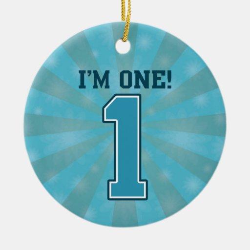 First Birthday Boy, I'm One, Big Blue Number 1 Christmas Tree Ornament
