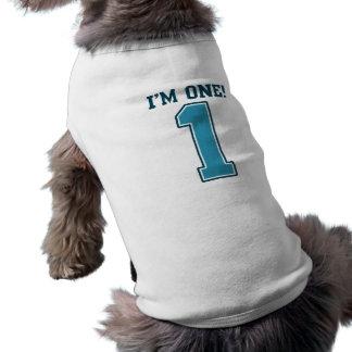 First Birthday Boy, I'm One, Big Blue Number 1 Pet Tee
