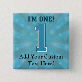 First Birthday Boy, I'm One, Big Blue Number 1 Pin