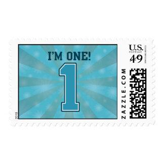 First Birthday Boy, I'm One, Big Blue Number 1 Postage Stamp