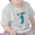 First Birthday Boy, I'm One, Big Blue Number 1 T Shirt
