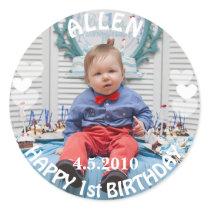 First Birthday Boy Photo Sticker