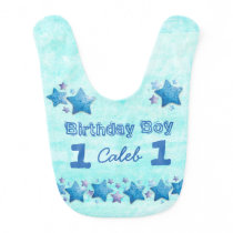 First Birthday Boy's Blue Personalized Big Baby Bib