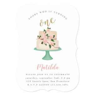 Cake invitations announcements zazzle first birthday cake party invitation filmwisefo