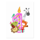 first birthday candle zoo party animals post card