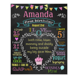 First birthday chalkboard for a girl (#1) poster
