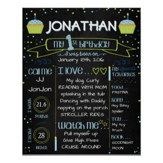 First Birthday Chalkboard Poster, Blue and Green Poster