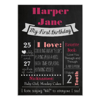 First Birthday Chalkboard Poster Girl