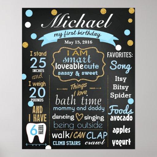 Birthday Date Poster: First Birthday Chalkboard Sign Confetti Blue Boy Poster