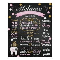 First Birthday Chalkboard sign confetti Poster