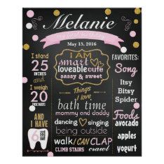 First Birthday Chalkboard Sign Confetti Poster at Zazzle