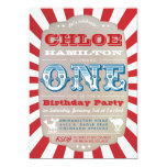 "First Birthday Circus Carnival Party Invitation 5"" X 7"" Invitation Card"