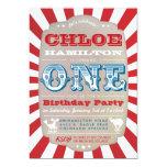 "First Birthday Circus Carnival Party Invitation 5"" X 7"" Invitation Card"