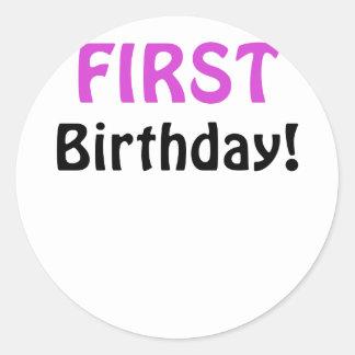 First Birthday Classic Round Sticker