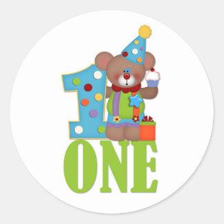 First Birthday, Clown Bear Classic Round Sticker
