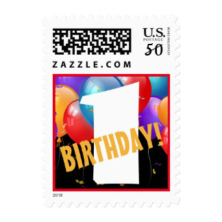 First Birthday Colorful Balloons Big Number A02 Postage