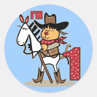 First Birthday Cowboy Stick Horse Age 1 Classic Round Sticker