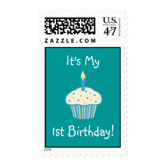 First Birthday Cupcake (blue) Postage