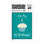 First Birthday Cupcake (blue) Postage