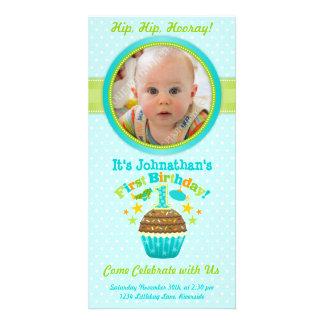 First Birthday Cupcake (Boy) Photo Card