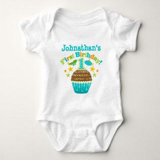 First Birthday Cupcake (Boys) Baby Bodysuit