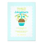 First Birthday Cupcake (Boys) 5x7 Paper Invitation Card