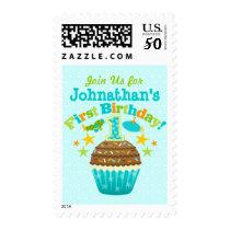 First Birthday Cupcake (Boys) Postage