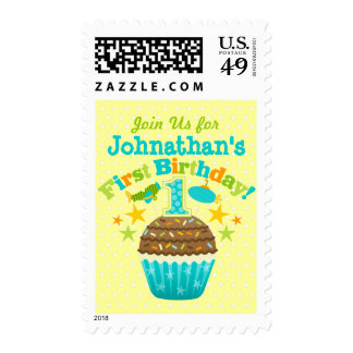 First Birthday Cupcake (Boys) Postage