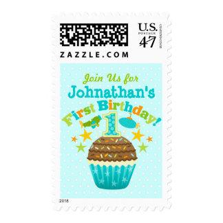 First Birthday Cupcake (Boys) Postage Stamp