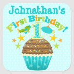 First Birthday Cupcake (Boys) Square Sticker