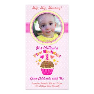 First Birthday Cupcake (Girl) Customized Photo Card