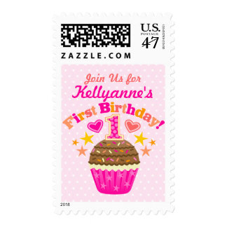 First Birthday Cupcake (Girls) Postage