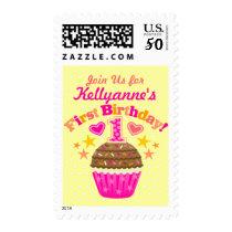 First Birthday Cupcake (Girls) Postage