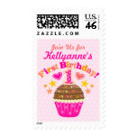 First Birthday Cupcake (Girls) Postage Stamps