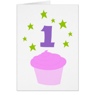 First Birthday Cupcake Party Invitation Greeting Card