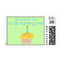 First Birthday Cupcake Party Postage Stamps