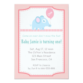First Birthday - Cute Blue Elephant with Balloon Card