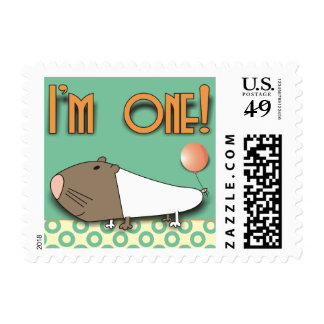 First Birthday Cute Guinea Pig Postage Stamps