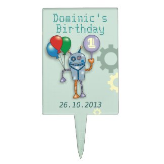 First Birthday Cute Robot Cake Toppers